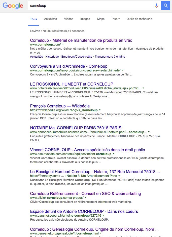 """Résultats Google sur la requête """"Corneloup"""" depuis Paris"""