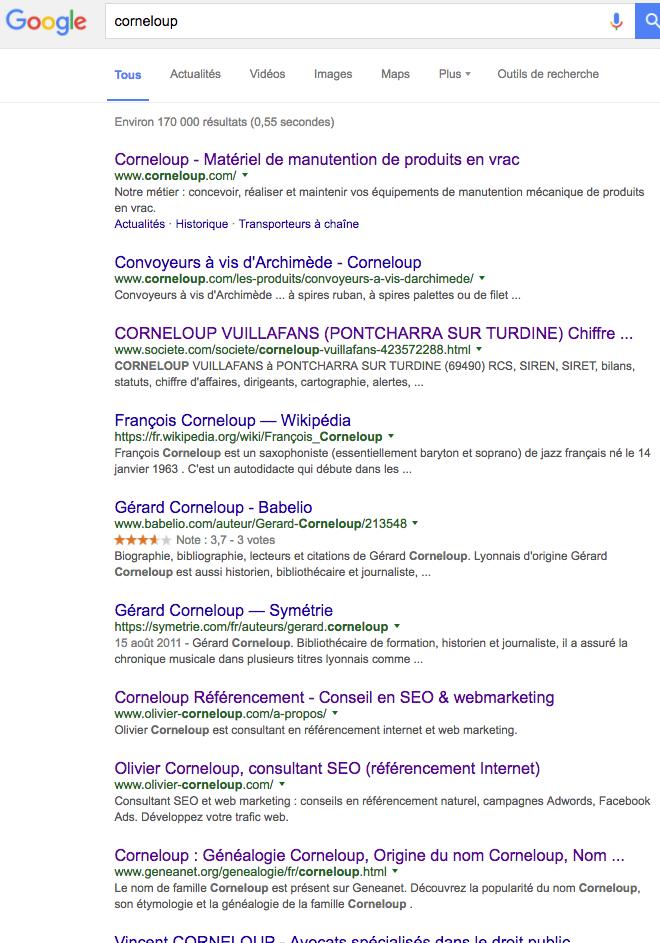Résultats Google sur Corneloup depuis Lyon
