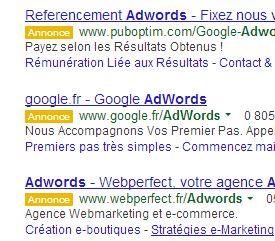 Nouvel affichage Adwords : une mention «annonce» apparaît sur fond orange